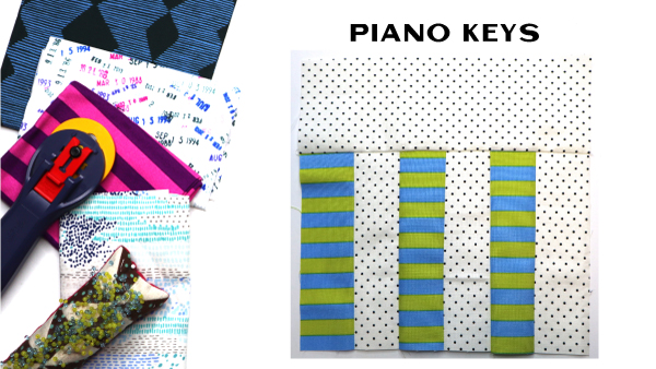 Piano Keys Block by Amy Ellis for Modern Quilt Block Series