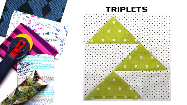 Triplets Block by Amy Ellis for Modern Quilt Block Series